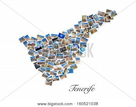 A collage of my best travel photos of Tenerife forming the shape of Tenerife island version 1.