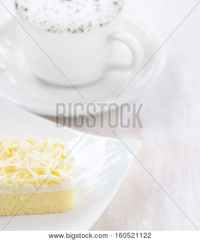 Cup Of Coffee And Fresh Cake