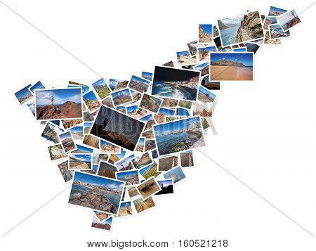 A collage of my best travel photos of Tenerife forming the shape of Tenerife island version 7.