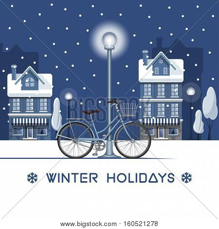 Winter holidays. Christmas decor. Snowy street. Winter in the city, houses, trees, bicycle, fir-trees, lights, snow. Winter nature landscape. Happy Holidays card. Poster design. Vector illustration