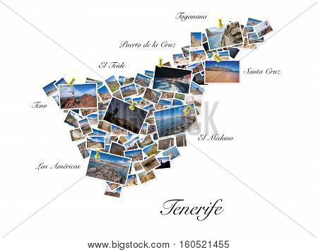 A collage of my best travel photos of Tenerife forming the shape of Tenerife island. Yellow pushpin showing the locations of most famous Tenerife Landmarks.