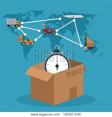 cardboard box clock connection global delivery concept vector illustration eps 10