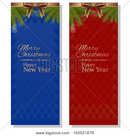 Red and blue abstract vector christmassy backgrounds with ribbons, bows and fir branches. Merry Christmas and a Happy New Year
