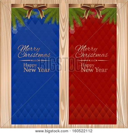 Vector christmassy card with ribbons, bows and fir branches on a wooden background. Merry Christmas and a Happy New Year