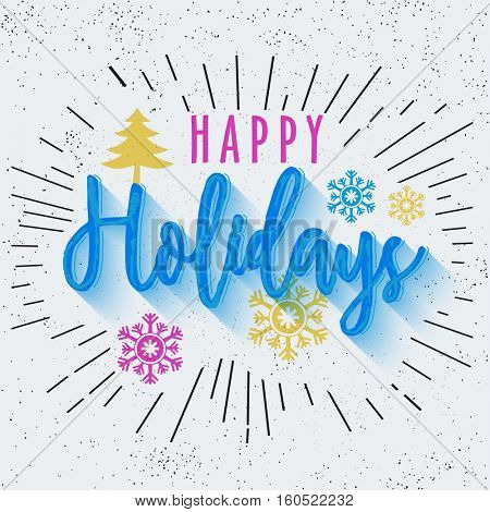 Beautiful text Happy Holidays in Doodle Style, celebration Poster or Banner Design.