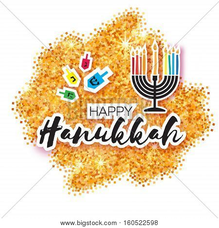 Colorful Origami Happy Hanukkah Greeting card on white background with space for text. Jewish holiday with menorah - traditional Candelabra, candles and dreidels - spinning top. Vector illustration