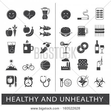 Collection of various food and lifestyle icons. Comparison between healthy and unhealthy way of life. Set of premium quality icons.