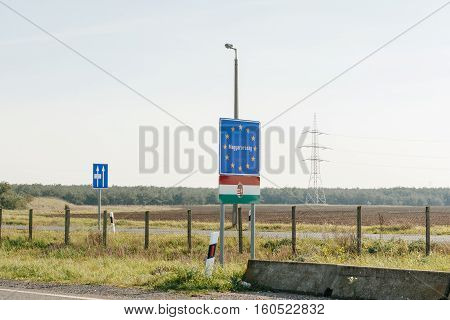 Magyarorszag - Entrance to the European Union sign at the border of Hungary