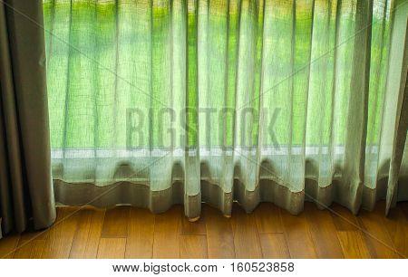 Transparent curtain on window, Curtain background, garden background.