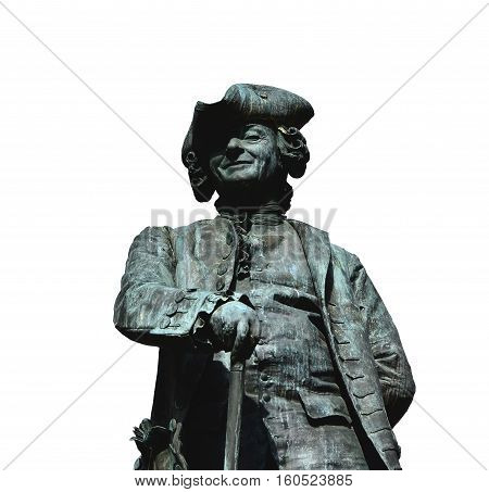 Famous venetian playwright Carlo Goldoni bronze statue in Venice made in 1883 by artist Dal Zotto (isolated on white background)