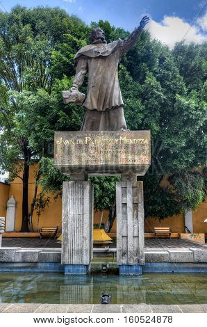 Puebla, Mexico - July 6, 2013: Monument to Blessed Juan de Palafox y Mendoza in Puebla Mexico. He was a Spanish politician administrator and Catholic clergyman in 17th century Spain and viceregal Mexico.