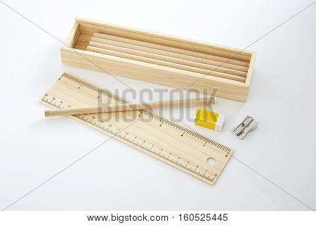 Wooden pencil box Wooden box on white background.