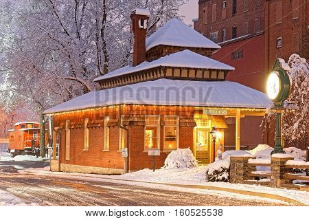 Snowfall at the old railroad station in Lititz Pennsylvania.This building is now the town visitor center.