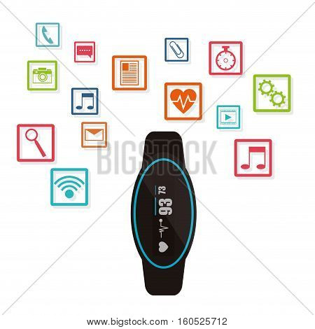 smart watch wearable technology funtions vector illustration eps 10
