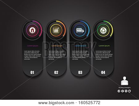stock vector info graphics design modern glow button business concept