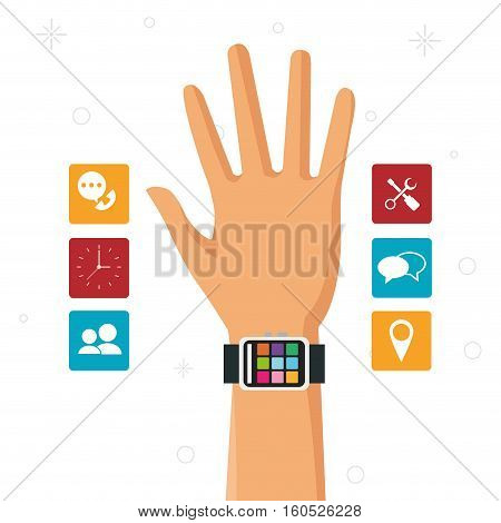 hand with smart watch wearable technology accesorie vector illustration eps 10