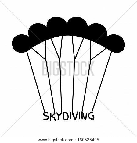 Skydiving logo in flat style. Black extreme sport parachuting emblem.