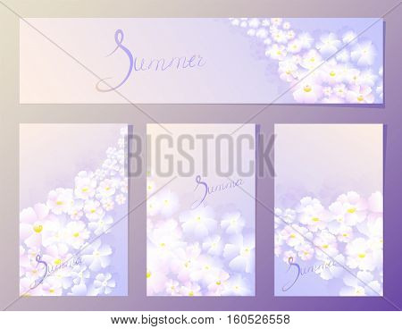 Summer organic floral pattern in the fourth frame in lilac tones. EPS10 vector illustration