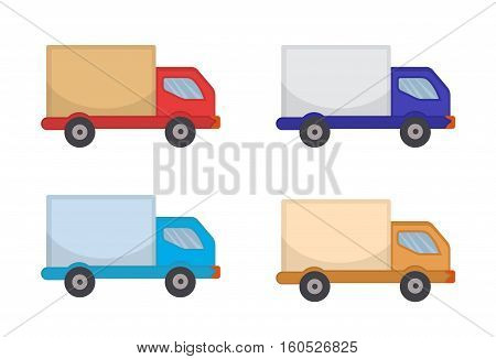 Delivery Truck Icon, flat style. Lorry for delivery of goods, isolated on white background. Vector illustration, clip art