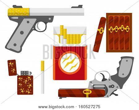 Cigarette pistol, cigar revolver, cigarette pack, box of cigars and lighter set. Smoking kill concept. Flat design element. Vector illustration.