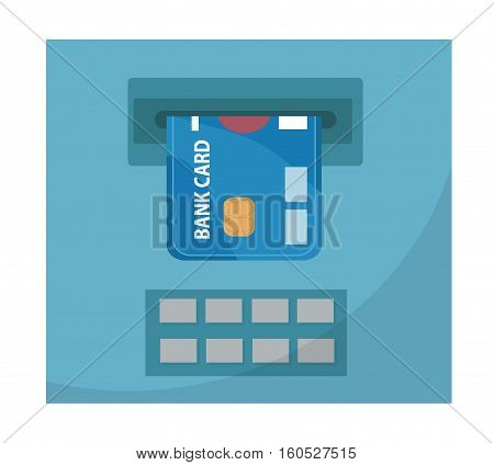 ATM with a bank card icon, flat design. ATM isolated on white background. Vector illustration, clip art