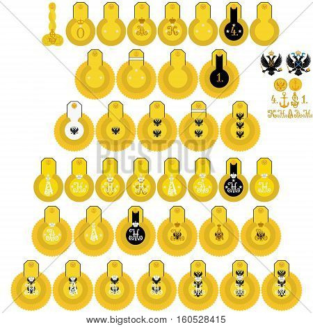 Insignia naval crews of His Imperial Majesty in Russia. The illustration on a white background.