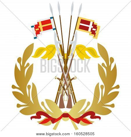 Icon with arms and banners musketeer regiment. The illustration on a white background.