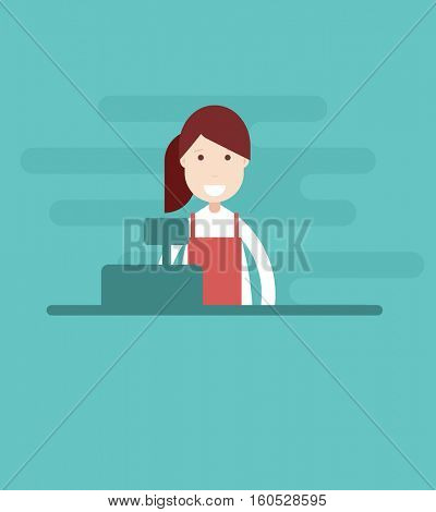 girl cashier. flat character