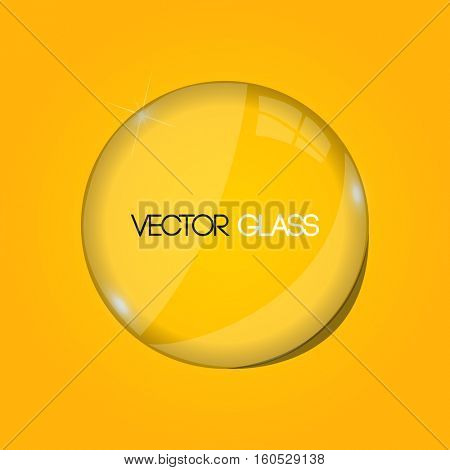 Glass lens on a yellow background