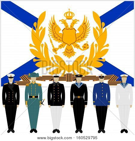 Military Russian sailors in uniform against the background of the St. George flag. The illustration on a white background.