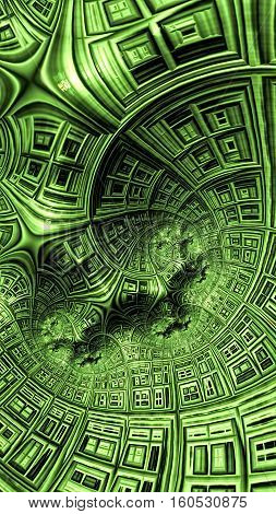 Abstract textured surface - computer-generated image. Fractal geometry: spiral and lattice grid. For covers, web design, posters. 3d