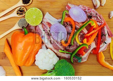 Sliced Pieces Of Raw Meat For Barbecue On Wooden Surface, Menu Cooking Recipes. Food,  Steak, Beef