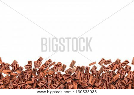 Rendering frame made of red bricks lying at the bottom on white background. Photo frame. Building material. Industry-specific background.