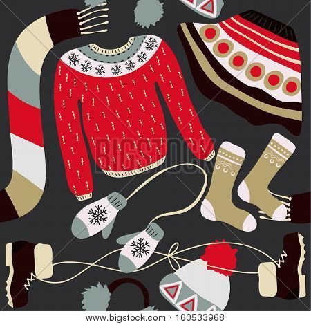 Seamless pattern with winter clothing. Warm woollies. Clothes for cold weather. Mittenshats scarf sweaters skirt shoes socks with ornament. Repeating background. Vector illustration eps10