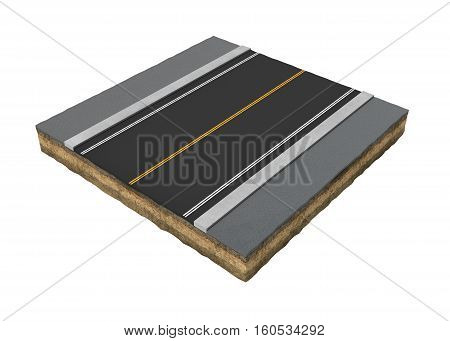 3d rendering of square piece of asphalt road isolated on the white background. Building maquette. Building materials. Road structure.