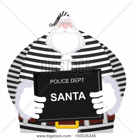 Mugshot Santa Claus At Police Department. Mug Shot Christmas. Arrested Bad Santa In Striped Robe Hol