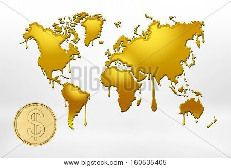 3d rendering of golden outlines of world map with smudges and big coin with the dollar sign on white background. Global issues. International trade. International currency.