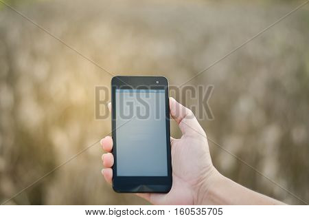 Mobile touch screen phone natural background new, organizer, outlook