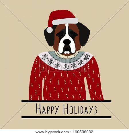 Greeting background with Saint Bernard. A dog with a hat of Santa Claus. Flat design. Pet. Cute doggie. Cartoon character. Animal. Vector illustration eps10