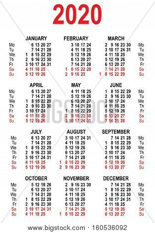 Calendar 2020 grid template. Isolated on white vector illustration
