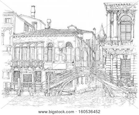 Venice - Grand Canal. Ancient building & bridge. Vector drawing