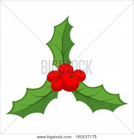 Sprig Of Mistletoe Isolated. Traditional Christmas Plant. Holiday Red Berry With Green Leaves. Decor