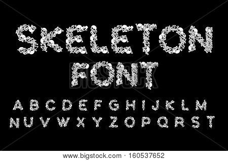 Skeleton Font. Letters Anatomy. Bones Abc. Skull And Spine. Jaw And Pelvis. Hell Scary Alphabet