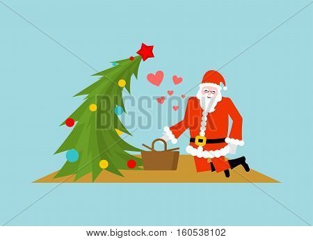 Santa Claus And Christmas Tree At Picnic. Christmas Food In Nature. Old Man In Red Suit And Fur-tree