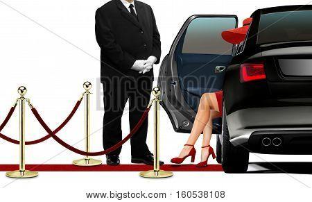Driver opening black limousine door for women in red dress