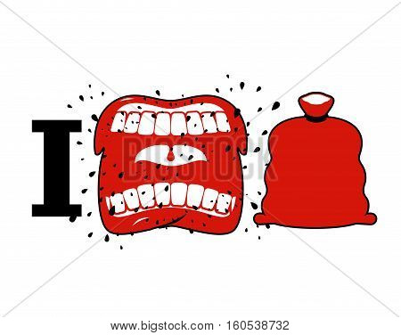 I Hate Christmas. Wicked Shout Symbol Of Hatred And Santa Bag. Aggressive Open Mouth. Yelling And Cu