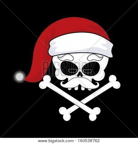 Santa Claus Death. Christmas Skull. Skeleton Head In Red Santa Hat