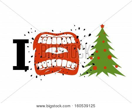 I Hate Christmas. Shout Symbol Of Hatred And Christmas Tree. Aggressive Open Mouth. Yelling And Curs