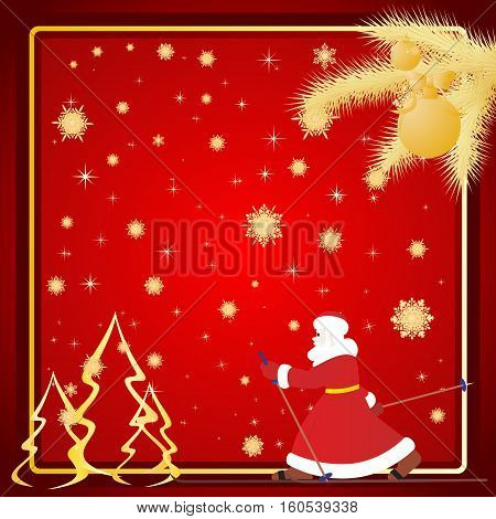 Santa Claus on skis Christmas background. The illustration on a red background.