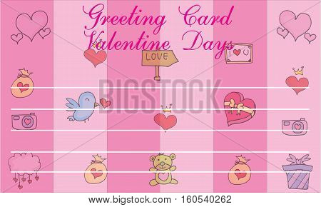 Cute greeting card for valentine day collection stock
